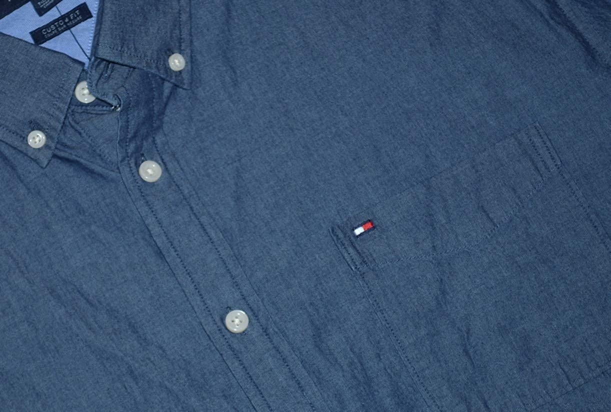 Tommy Hilfiger Mens Custom Fit Long Sleeve Button Front Shirt