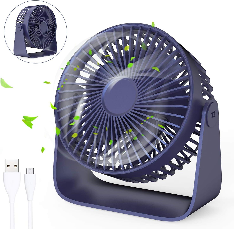 Jovego Mini Ventilador USB, Portátil Ventilador USB de Mesa Regulable en 3 Velocidades, Ruido Bajo, para Coche, Oficina, Hogar, Viajes, Camping (Azul)