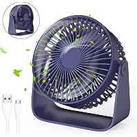 Jovego Mini Ventilador USB, Portátil Ventilador USB de Mesa Regulable en 3 Velocidades, Puede Poner Aceites de Aromaterapia, Ruido Bajo, para Coche, Oficina, Hogar, Viajes, Camping (Azul)