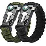 Pro Paracord Bracelet | Amazing Multi-Function Black-Green Bracelet with Emergency 13.1ft Cord Buckle Flint Blade Whistle for Outdoor Safari Army Survival Hiking Camping
