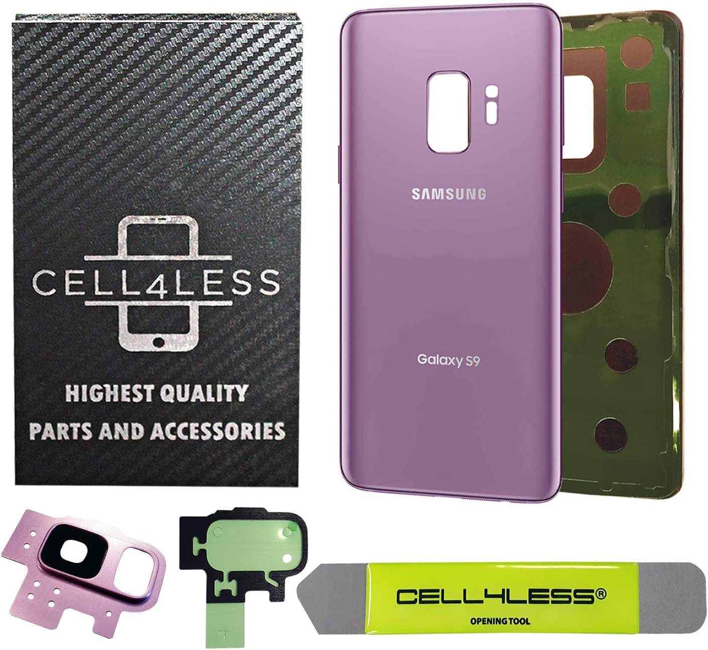 Purple Removal Tool Camera Lens for Samsung Galaxy S9 OEM CELL4LESS Compatible Back Glass Cover Back Battery Door w//Pre-Installed Adhesive All Models G960 All Carriers- 2 Logo OEM Replacement