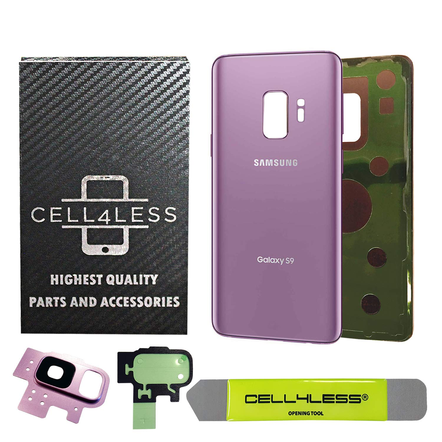 CELL4LESS Compatible Back Glass Cover Back Battery Door w/Pre-Installed Adhesive - Removal Tool - Camera Lens for Samsung Galaxy S9 OEM - All Models G960 All Carriers- 2 Logo OEM Replacement (Purple) by Cell4Less