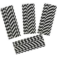 100 Stück Einweg trinken Strohhalme Papier Strohhalm gestreifte Trinkhalme (Schwarz und Weiß)