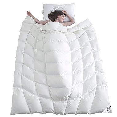 SLEEP RHYTHM Luxurious Goose Down Comforter Duvet Insert All Season Down Comforter Ergonomics Design Hypoallergenic 1200 Thread Count 750 Fill Power 100% Egyptian Cotton White Color King Size 106 90