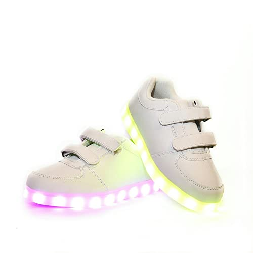 profesional diseño novedoso invicto x Envio 24 Horas Usay like Zapatillas LED con 7 Colores Luces Carga USB  Blanco Unisex Niños Talla 25 hasta 34 Envio Desde España