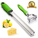 Cheese Grater, Hard Crafts Cheese Grater & Vegetable Peeler Set - Parmesan Cheese, Lemon, Ginger, Chocolate, Vegetables, Fruits - Razor-sharp Stainless Steel Blade Dishwasher Safe (Green)