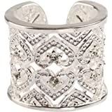 Europe Style 925 Silver Plated Hollow Hears White Zircon Resizable Band Ringe