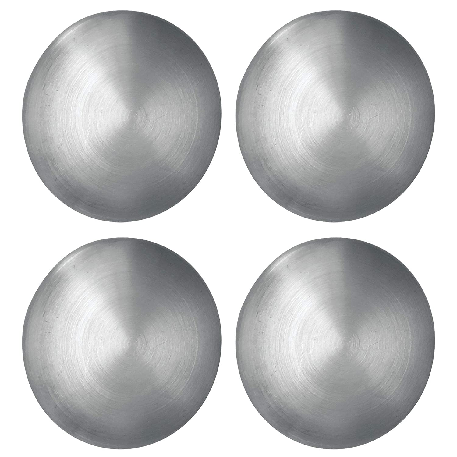 mDesign Modern Kitchen Round Disc Dots Circle Fridge Refrigerator Door Heavy duty Metal Magnetic Clips for Photos, Notes, Chip Bags Office - Set of 4, Brushed Stainless Steel