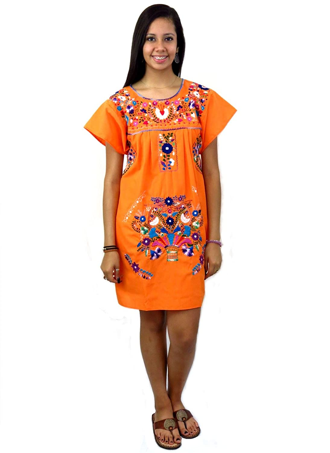 Embroidered Orange Mexican Puebla Tunic Dress - DeluxeAdultCostumes.com