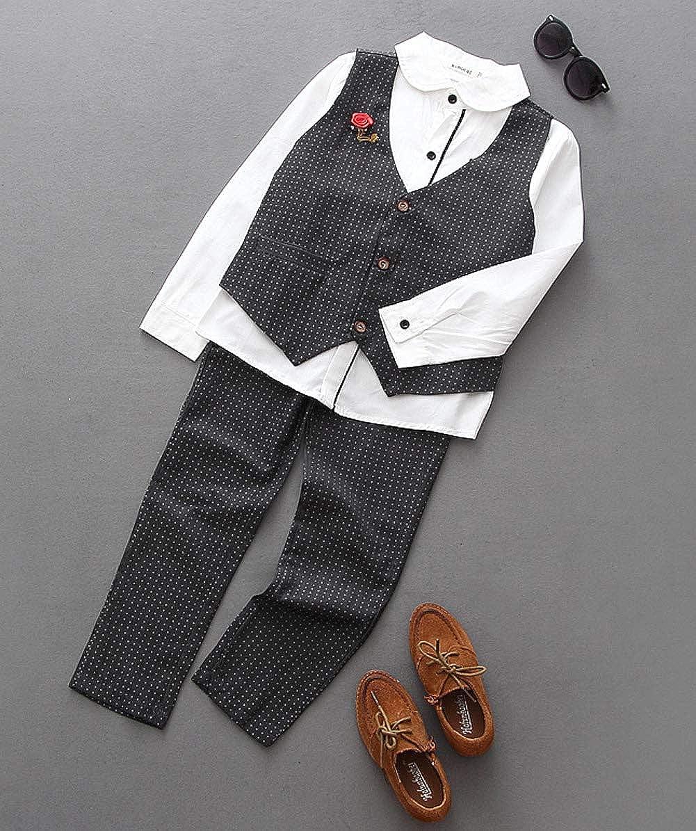 Pants Shirt Vest Brooch for 3-7 Years Kimocat Kids 3pcs Formal Clothing Set