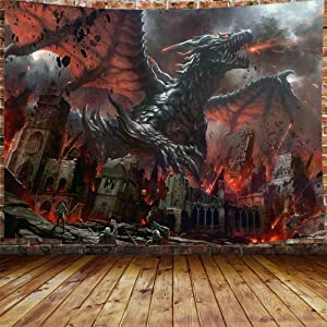 JAWO Fantasy World Tapestry Wall Hanging, Medieval Red Dragon and Human War Mythology Themed Art Tapestries Home Decoration Wall Decor (70W X 60H)