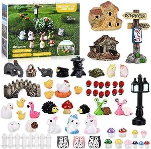 58 PCS Miniature Fairy Garden Accessories, Including Animals, Figurines, House, DIY Mini Fairy Garden Supplies for Home Terrarium Decor