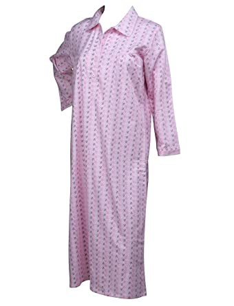 55e1df660e Ladies Floral Leaf Brushed Cotton Nightdress Womens Long Sleeved Nightie  Medium (Pink)