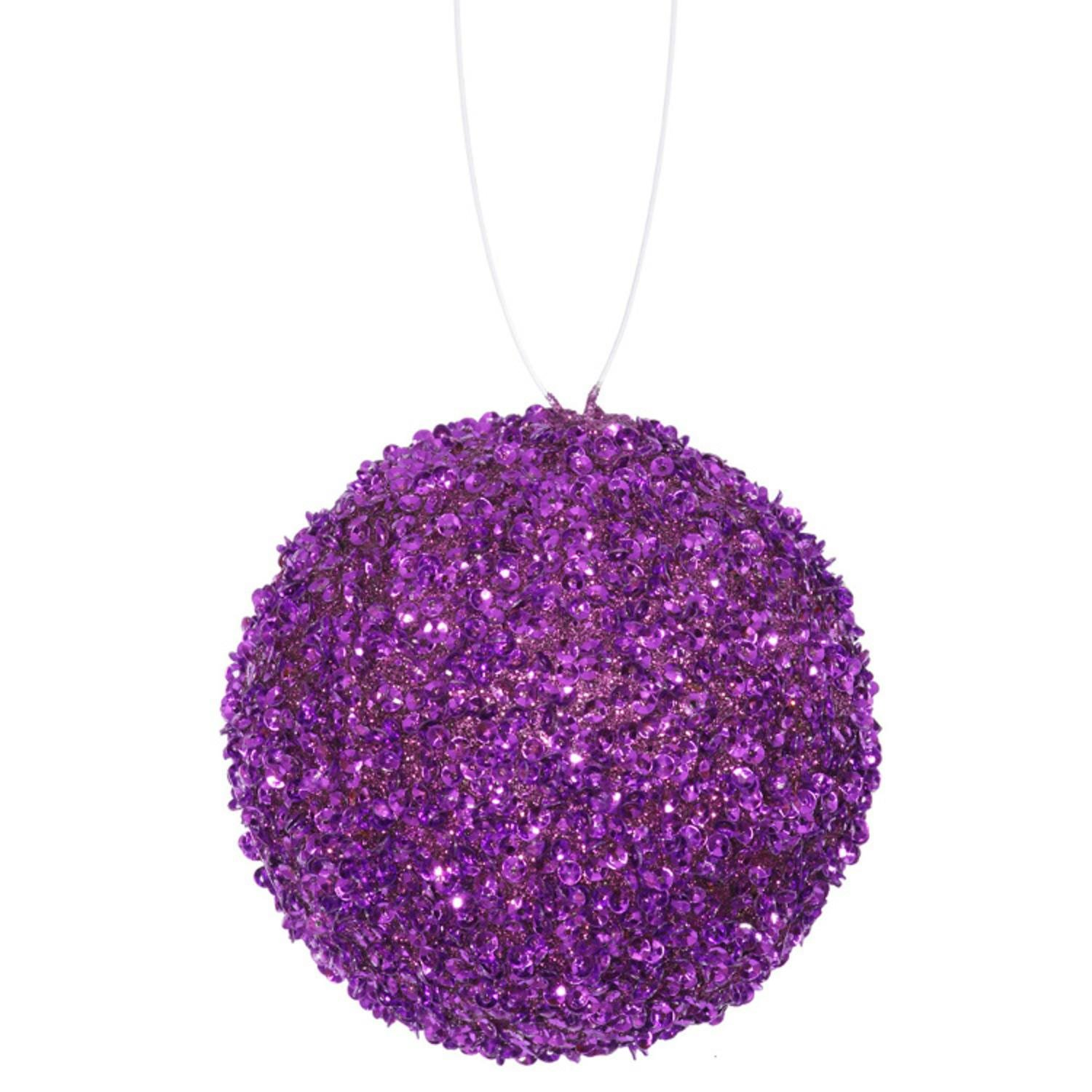 4ct Purple Majesty Sequin and Glitter Drenched Chr