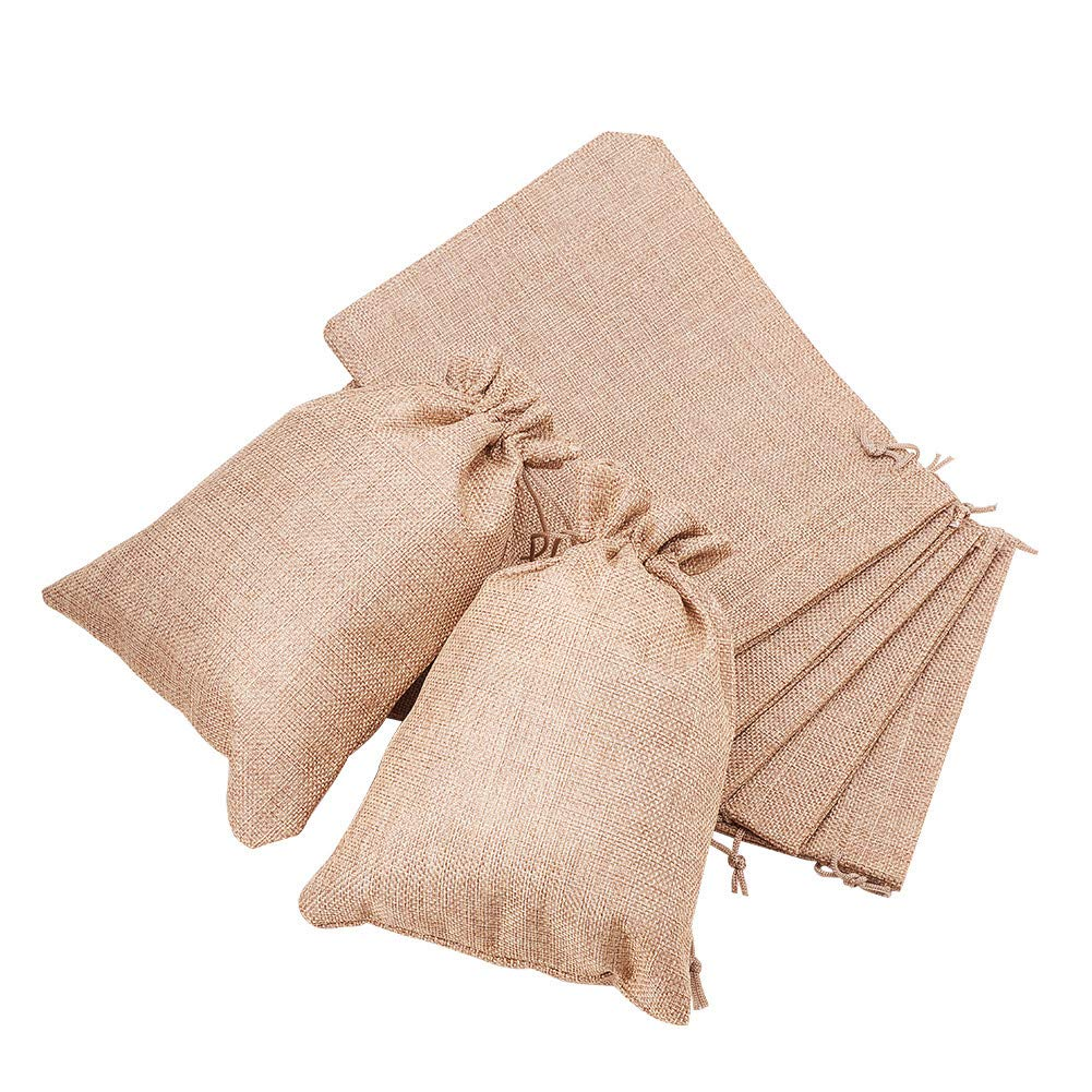 BENECREAT 30Pack 6 Color Burlap Bags with Drawstring Gift Bags Jewelry Pouch for Wedding Party and DIY Craft, 4.5 x 3.7 Inch ABAG-BC0001-01