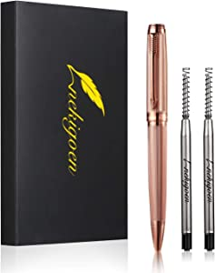 Nekigoen Ballpoint Pen with Perfect Gift Box for Men Women,Luxury Stainless Steel Retractable Pen Executive Home Office Use, and 2 Extra Refills Black Ink 1.0mm B2 (rose gold)