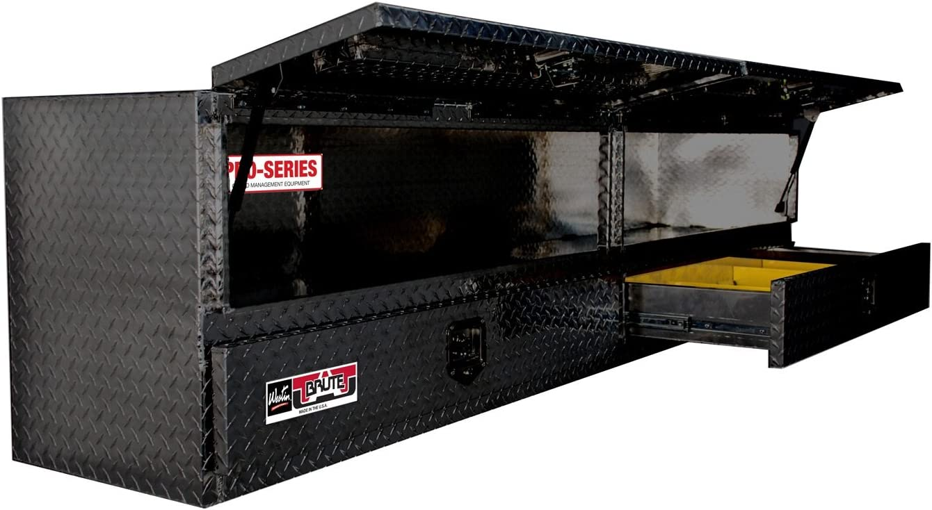 Brute 80-TB400-96D Pro Series 96 High Capacity Stake Bed Contractor Polished Aluminum Tool Box with Doors