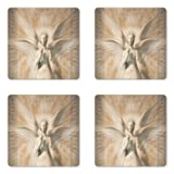 Ambesonne Sculptures Coaster Set of Four, Statue of