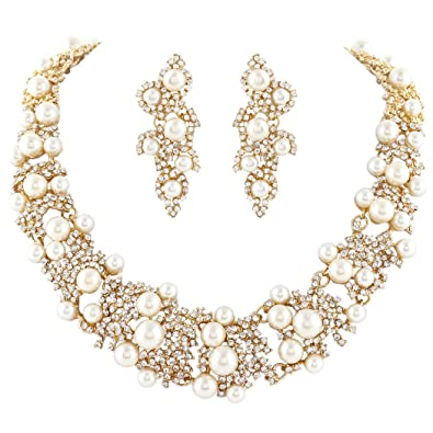 EVER FAITH Austrian Crystal Bridal Cream Simulated Pearl Leaf Jewelry Set Clear