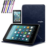 Mignova case for All-New Fire 7 Tablet (2017 7th Gen) - Ultra Slim Lightweight with Kick Stand Cover for All-New Fire 7 Tablet (7th Gen 2017 Release) + Screen Protector Film and Stylus Pen (Blue)