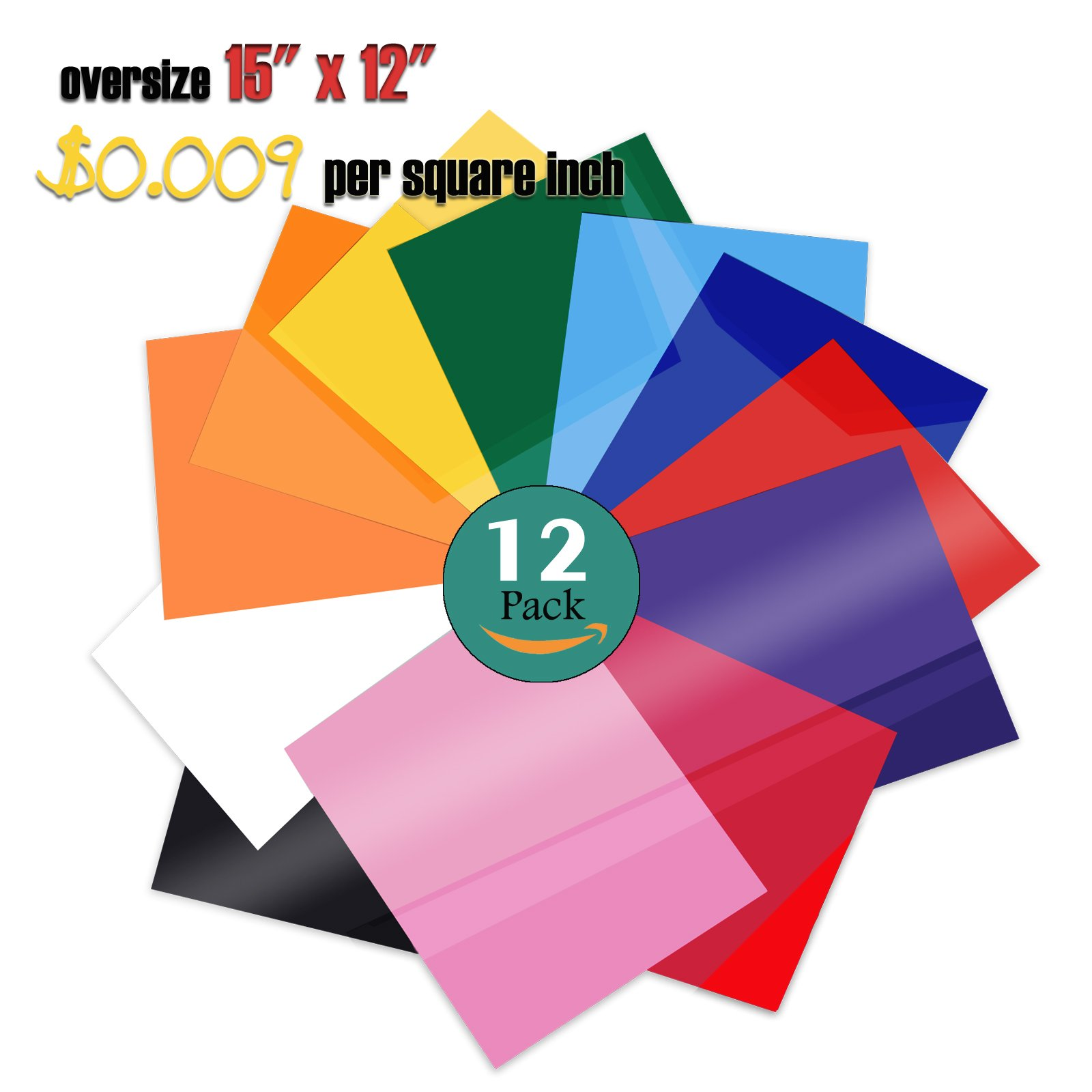 PowerPress Heat Transfer Vinyl Bundle - Iron on Vinyl for Cricut & Silhouette Cameo - 15 x 12 Inches 12 Pack in Assorted Colors Vinyl Sheets by PowerPress