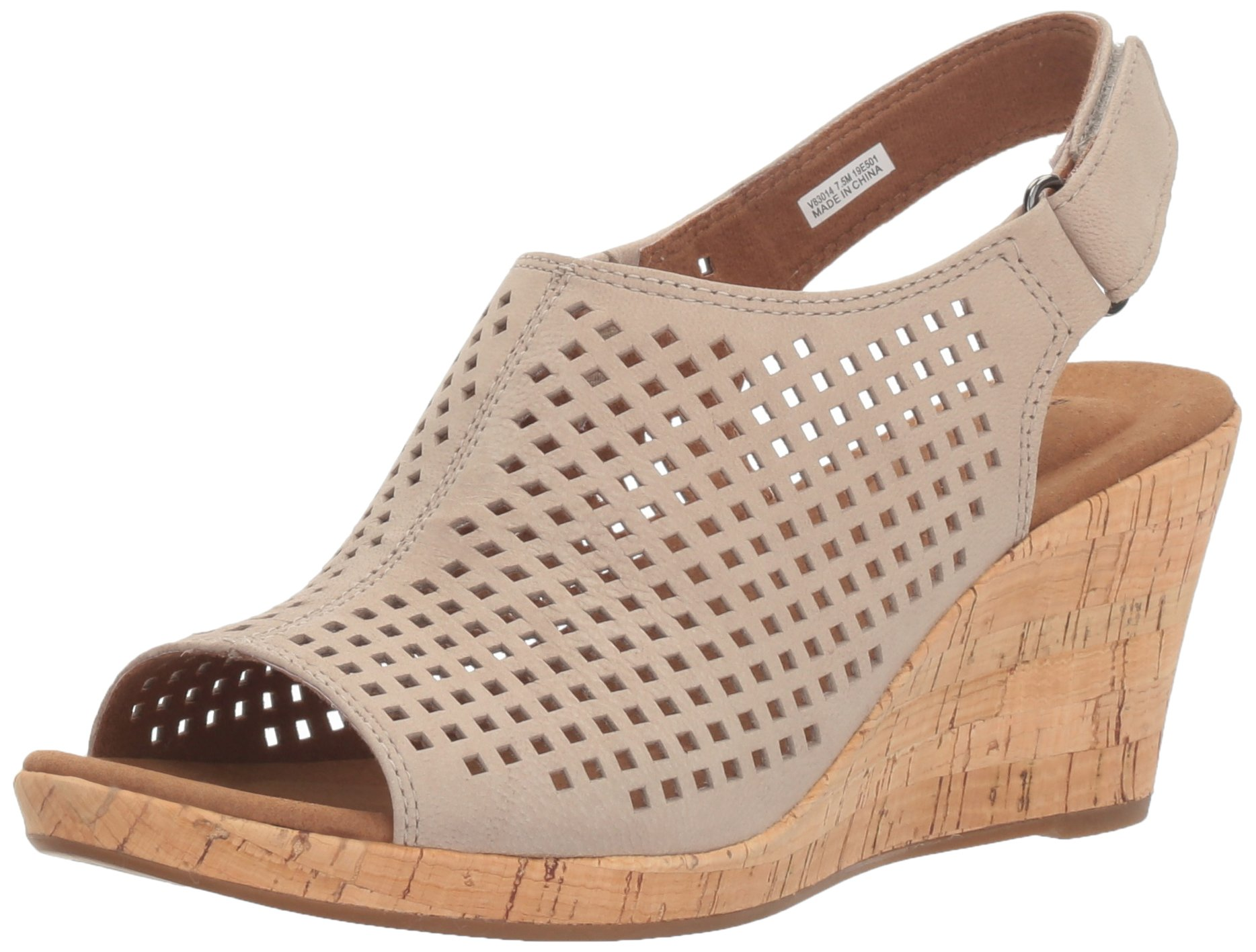 Rockport Women's Briah Perf Sling Wedge Sandal, Taupe Leather, 5.5 W US
