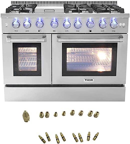HRG4808U-LP in Gas Range 6 Burners 1 Griddle 6.7cu.ft Oven Propane//NG Double Oven with Thor Kitchen 48 Free Standing/&Slide