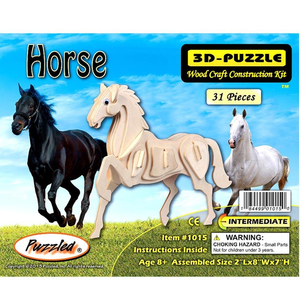 Uncategorized Horse Puzzle amazon com horse 3d jigsaw woodcraft kit wooden puzzle toys games