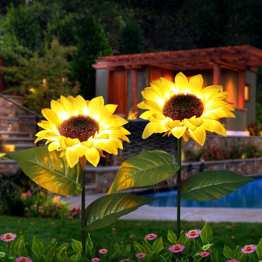 KITVONA Outdoor Sunflower Solar Garden Decor Yard Stake, 26'' Decorative Lights for Garden Patio Porch Backyard (2 Pack)