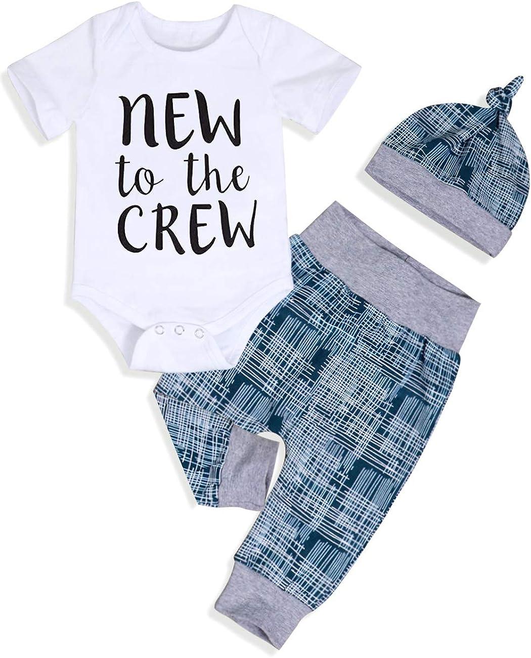 Newborn Baby Boy Summer Clothes Letter Print Romper+Colorblock Pants+Hat 3PCS Infant Boys Jumpsuit Outfits Set
