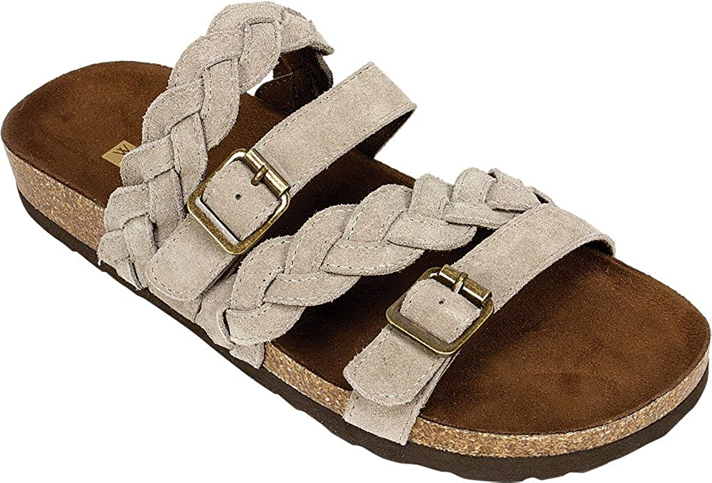 Light Taupe Silky Suede Women's White Mountain, Holland Sandals