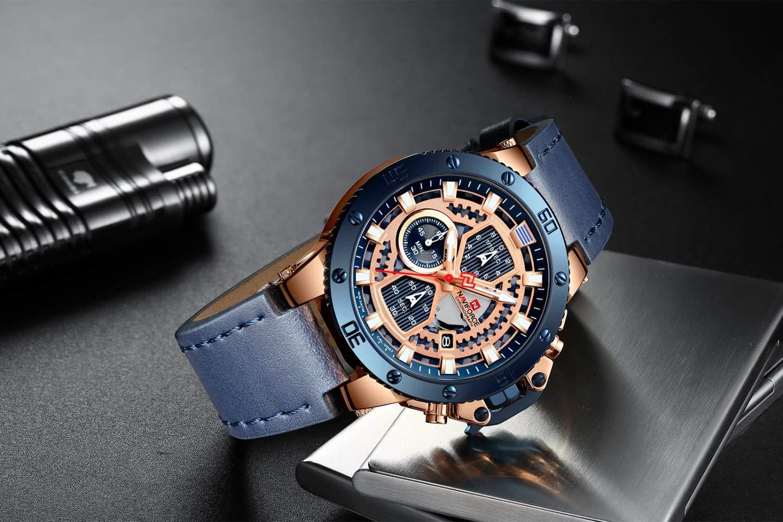 Armbandsur, mode och vitt armband 6 stift multifunktionell butik avslappnad kvartsur Guldskal svart cirkel brunt bälte