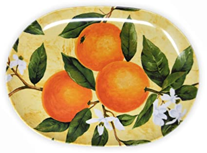 Lashuma Italiano, Ovalado Bandejas melamina | Impresa Bandejas, plástico, Orangenhain, 30 x
