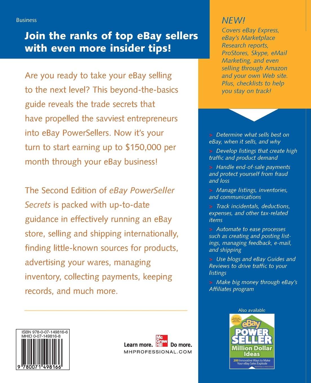 Ebay Powerseller Secrets Insider Tips From Ebay S Most Successful Sellers 2nd Edition V 2 Debra Schepp Brad Schepp 9780071498166 Amazon Com Books