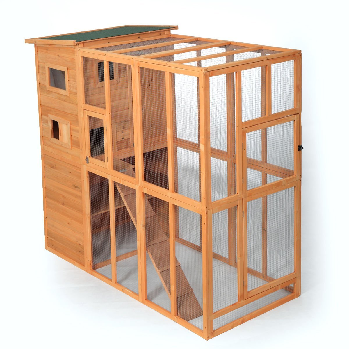 Jaxpety Cat Houses Cage For Outdoor Cats Enclosure Run Shelter Wooden Pet Housing