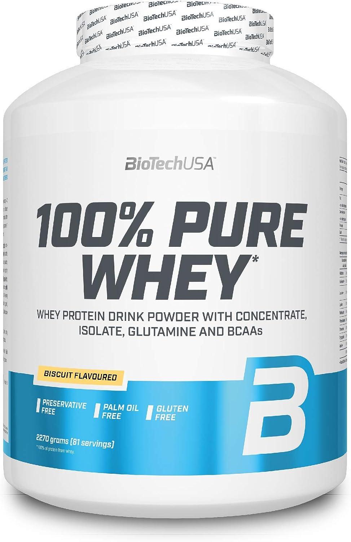 BioTechUSA 100% Pure Whey Complejo de proteína de suero, con aminoácidos añadidos y edulcorantes, sin conservantes, 2.27 kg, Galletas