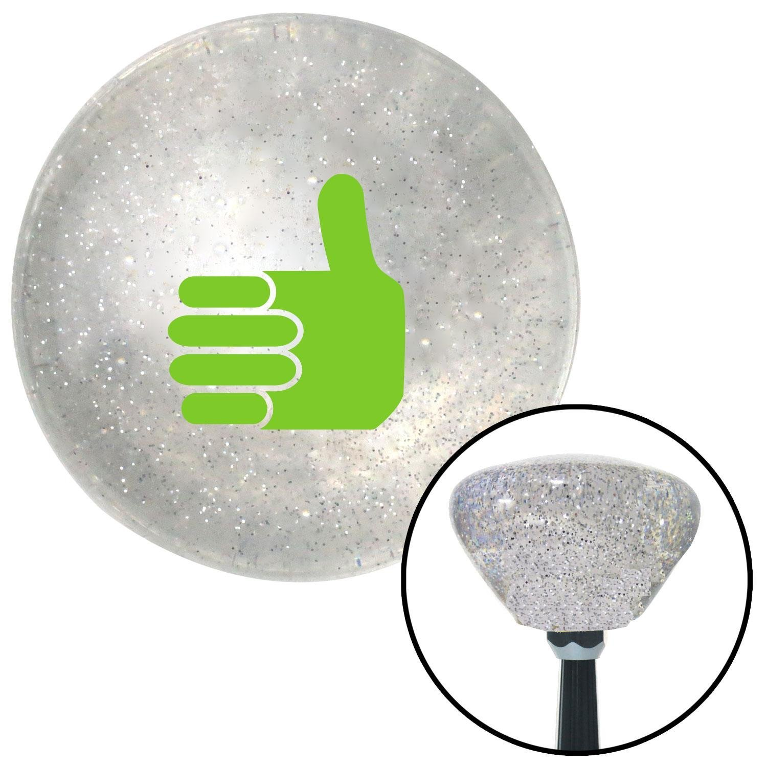 Green Thumbs Up American Shifter 160952 Clear Retro Metal Flake Shift Knob with M16 x 1.5 Insert