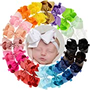 WillingTee 6 inches Grosgrain Ribbon Hair Bows Headbands for Baby Girls and Toddlers 20 pieces