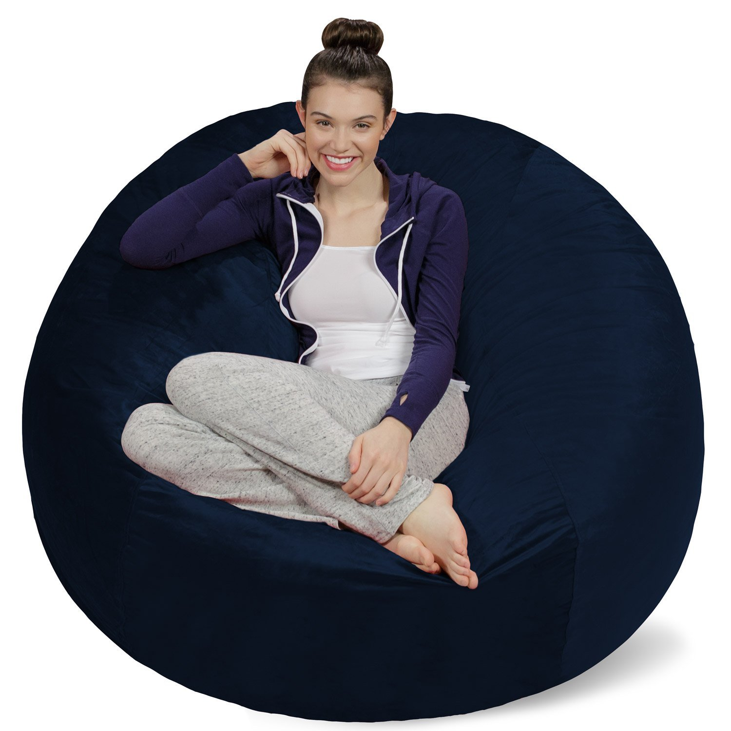 Sofa Sack - Plush Ultra Soft Bean Bags Chairs for Kids, Teens, Adults - Memory Foam Beanless Bag Chair with Microsuede Cover - Foam Filled Furniture for Dorm Room - Navy 5' by Sofa Sack - Bean Bags
