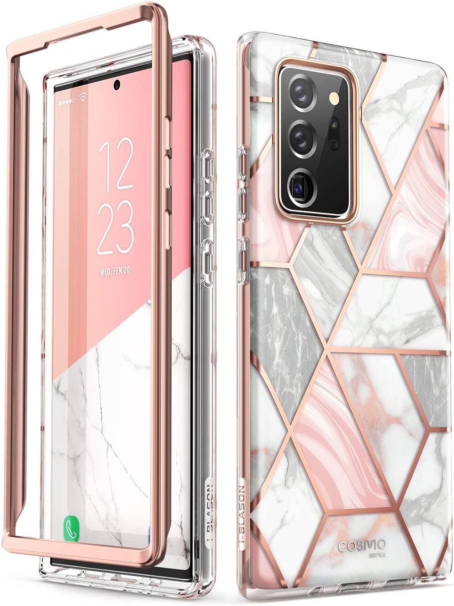 i-Blason Cosmo Series Case Designed for Galaxy Note 20 Ultra 5G (2020 Release), Protective Bumper Marble Design Without Built-in Screen Protector (Marble)