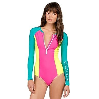 18f13f0d036e6 Volcom Women's Simply Solid Bodysuit One Piece Swimsuit, Scream Magenta, ...