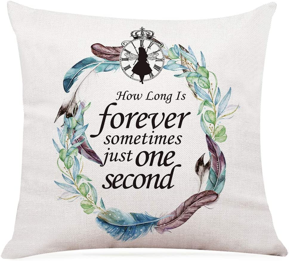 """Ihopes Alice in Wonderland Inspirational Quotes Pillow Covers - Vintage Alice in Wonderland Theme Pillow Case Cushion Cover for Sofa Couch Home RoomDecor Gifts for Girls/Kids/Teen(18""""x 18""""Inch)"""