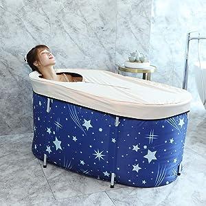 Foldable Bathtub Portable Soaking Bath Tub,Eco-Friendly Bathing Tub for Shower Stall (Blue Sky)