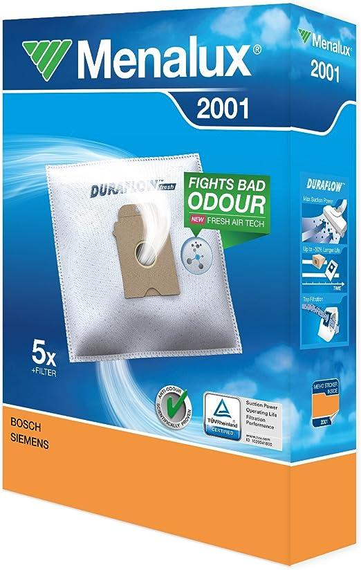Menalux 2001 Pack con 5 bolsas y 1 filtro para aspiradores Bosch ...