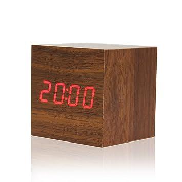 Reloj de madera cubo LED alarma digital escritorio reloj de control de voz temporizador termómetro calendario (Marrón (rojo llevado)): Amazon.es: Hogar