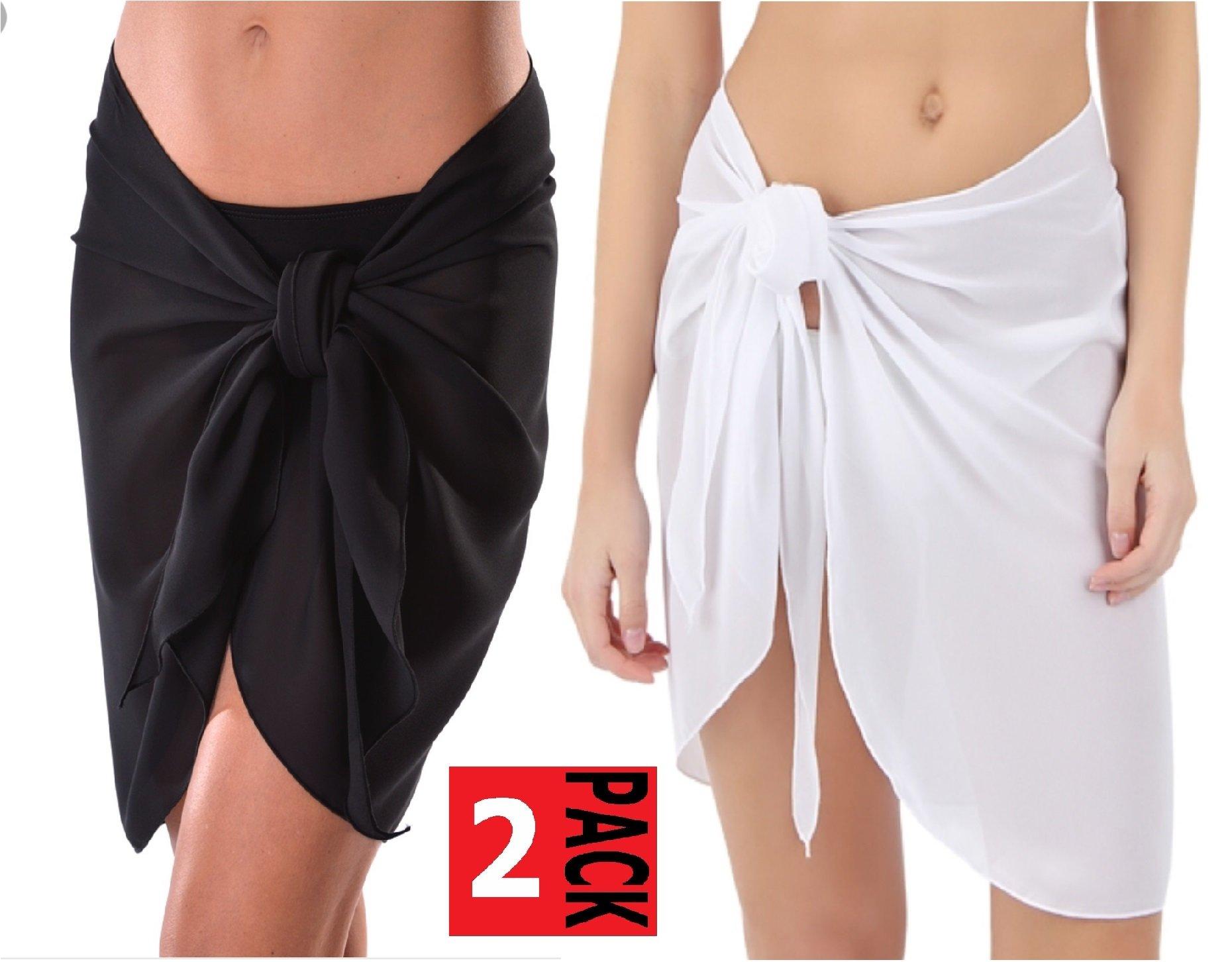 TC Sheer Chiffon Swim Beach Short Sarong Wrap Skirt Cover-up (Black + White (Pack of 2))