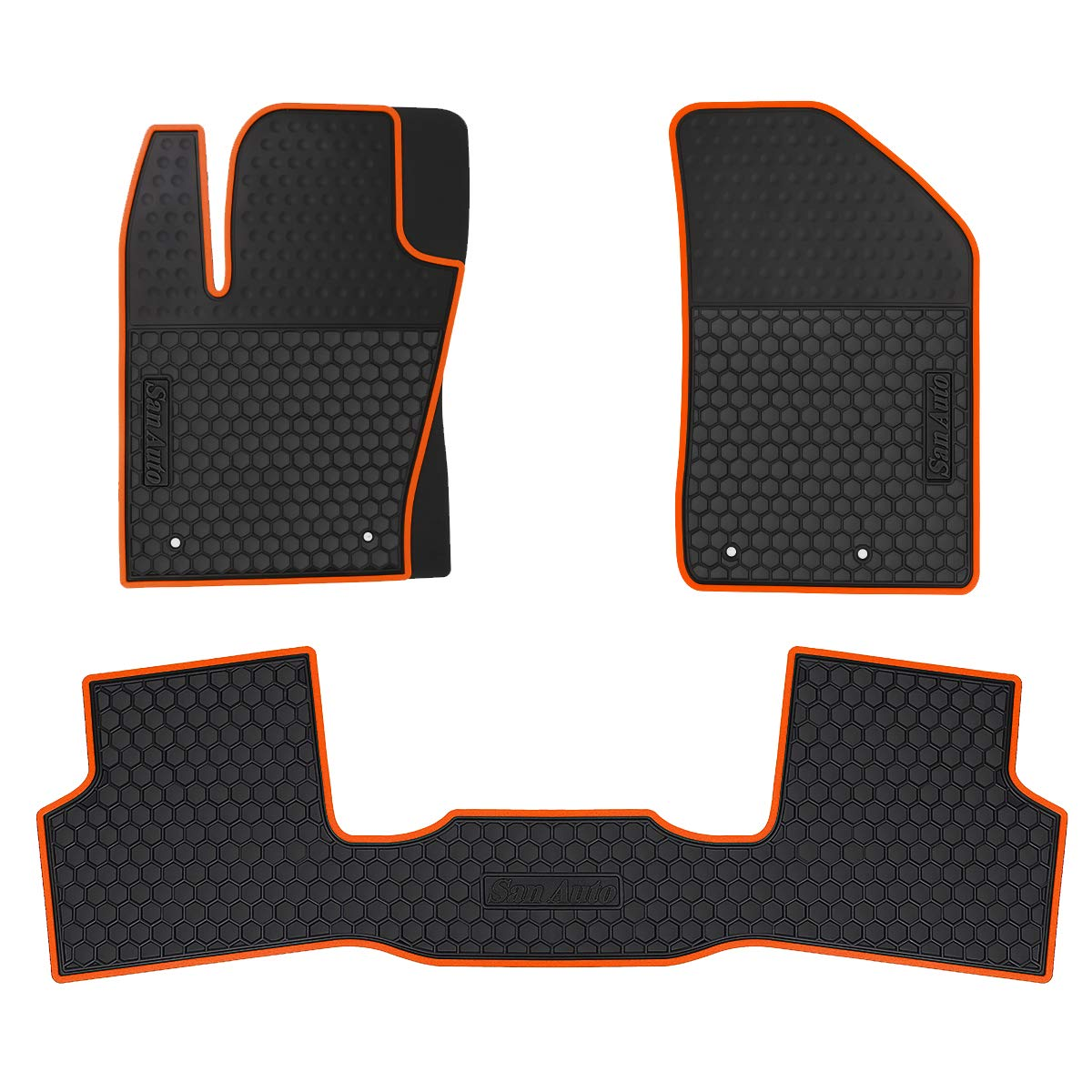 HD-Mart Car Floor Mats for Jeep Renegade 2015 2016 2017 2018 2019 2020 2021 Custom Fit Black Orange Rubber Car Floor Liners Set All Weather Protection Heavy Duty Odorless