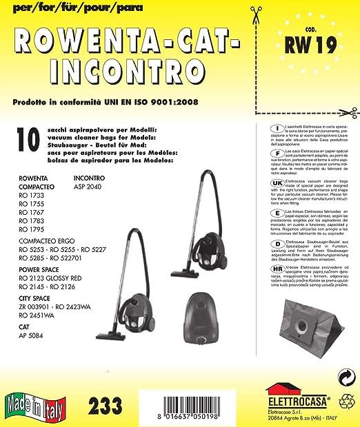 Elettrocasa RW 19 Bolsa para el polvo - Accesorio para aspiradora (Bolsa para el polvo, CAT AP