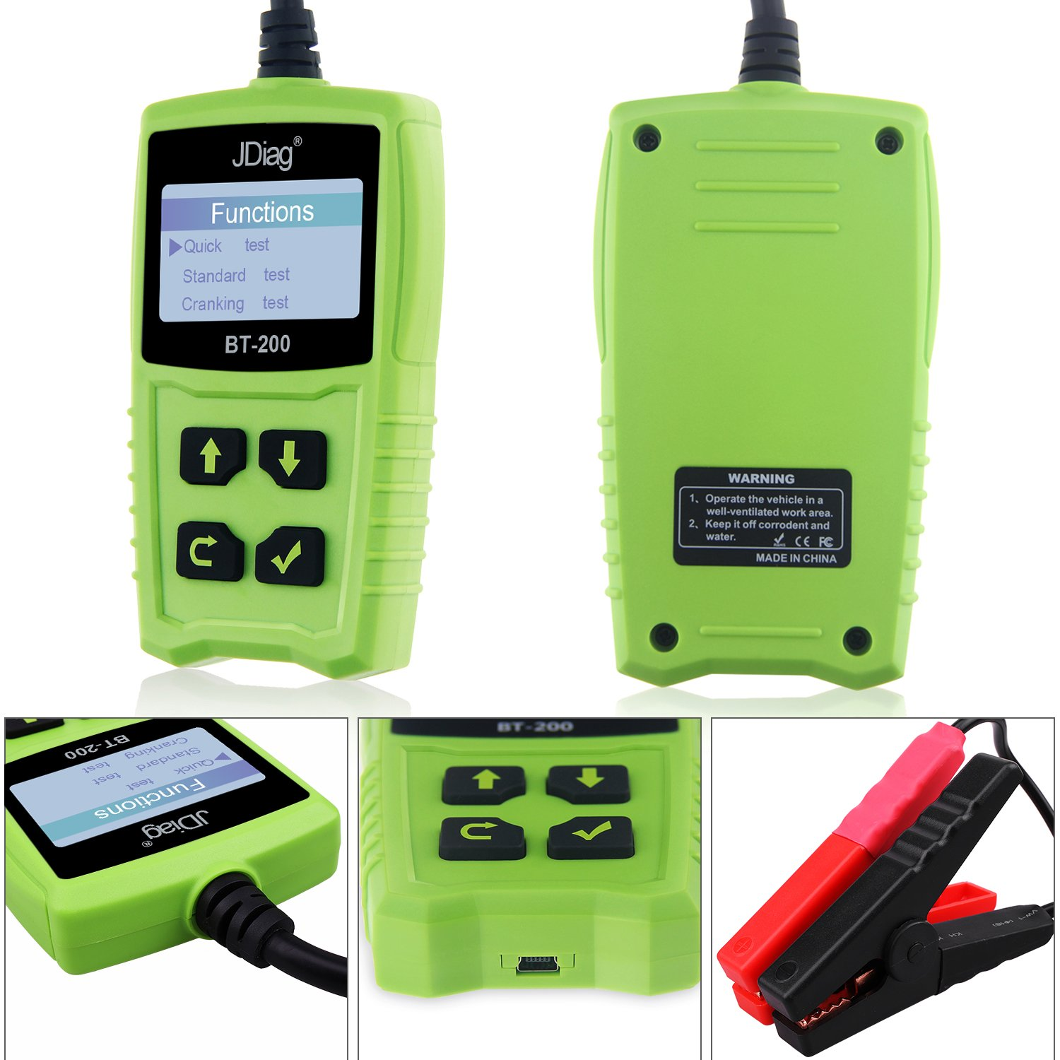 Car Battery Tester 12V 100-1700 CCA 100AH BT200 Automotive Load Battery Tester Digital Analyzer Bad Cell Test Tool VXDAS for Car/Boat/Motorcycle and More (Green) by VXDAS (Image #2)