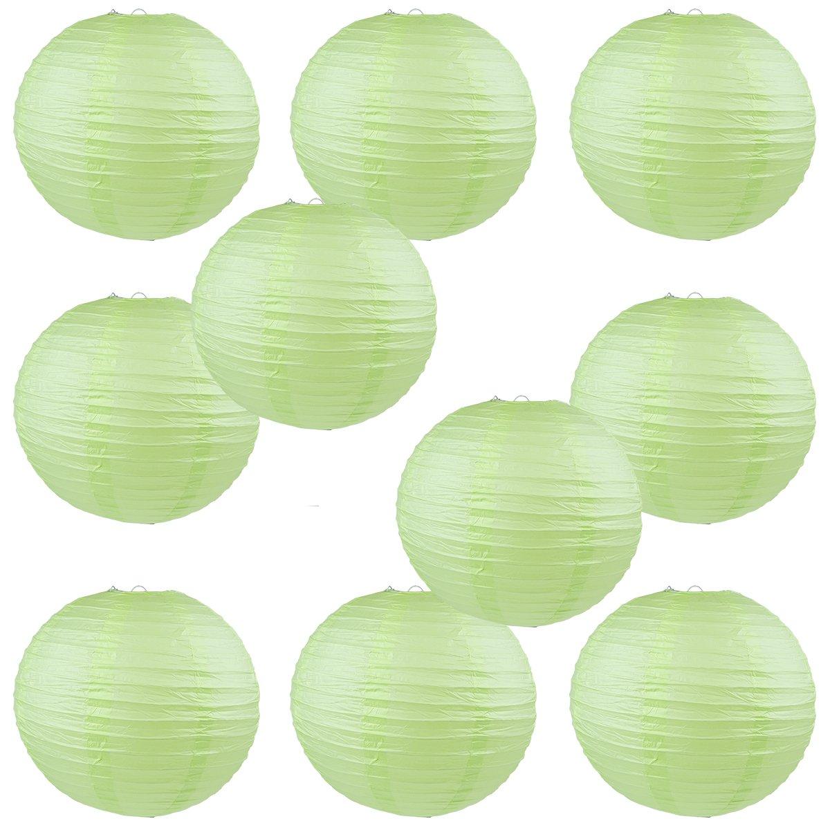 WYZworks Round Paper Lanterns 10パック(ライトApple Green ) – ウェディングデコレーションパーティーChinese FestivalランプシェードFiesta 12